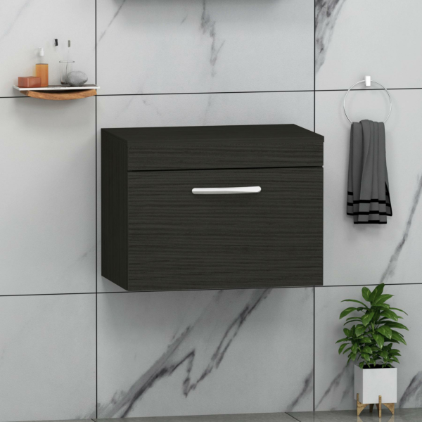 Turin 500/600/800mm Hale Black Wall Hung Worktop Vanity Unit - 1 Drawer