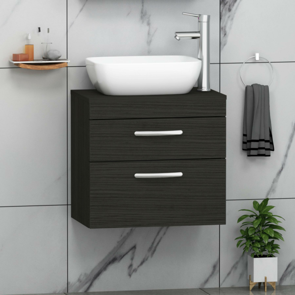 500/600/800mm Wall Hung Vanity Unit 2-Drawer Hale Black & Abacus Countertop Basin - Various Sizes