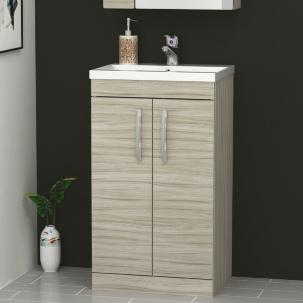 500mm Beachwood Oak Floor Standing 2 Door Vanity Unit and Optional Basin - Mid Edge / Minimalist
