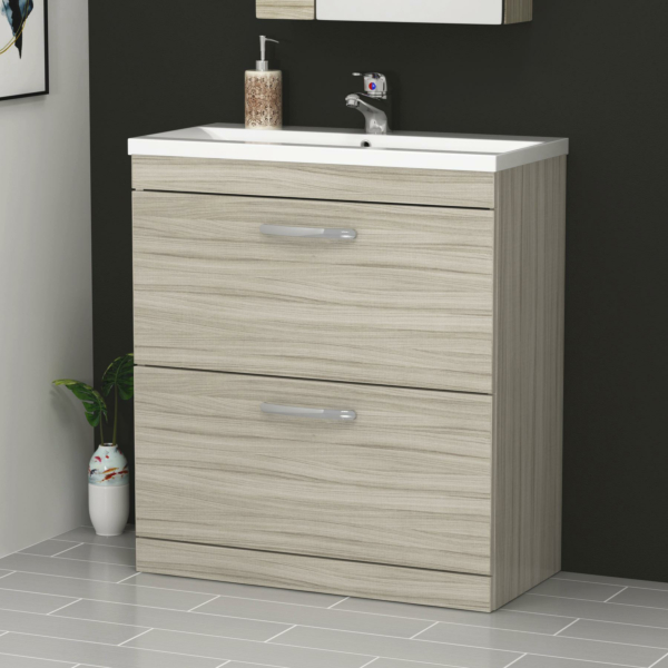 800mm Beachwood Floor Standing 2 Drawer Vanity Unit and Optional Basin - Mid Edge / Minimalist