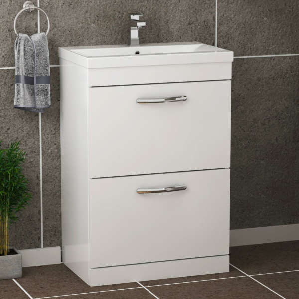 Turin 500 / 600 / 800mm Free Standing Vanity Unit Gloss White 2 Drawer Optional Basin