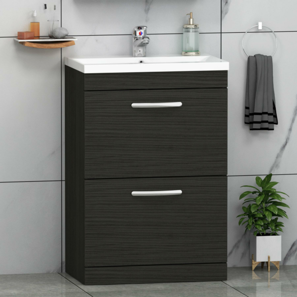 Turin 500 / 600 / 800mm Free Standing Vanity Unit Hale Black 2 Drawer Optional Basin