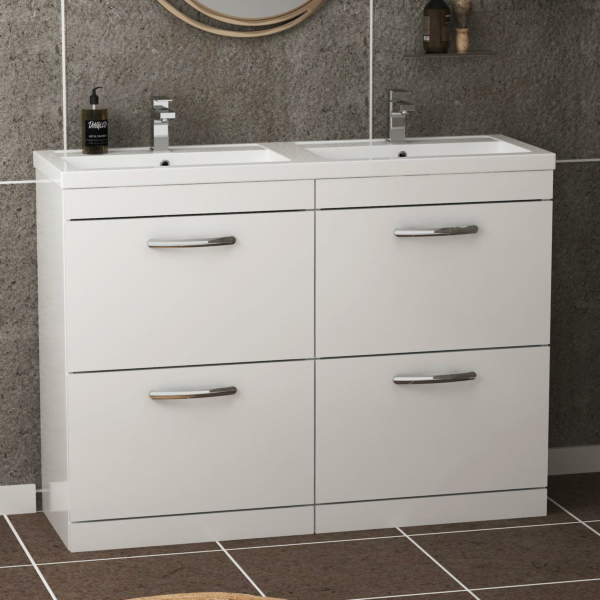 Turin 1200mm Gloss White Floor Standing 4-Drawer Vanity Unit Cabinet With Double Basin