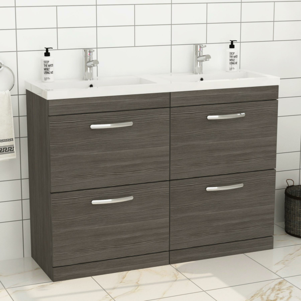 Turin 1200mm Grey Elm Floor Standing 4-Drawer Vanity Unit Cabinet With Double Basin