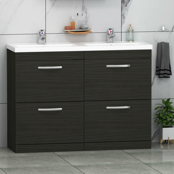 Turin 1200mm Hale Black Floor Standing 4-Drawer Vanity Unit Cabinet With Double Basin