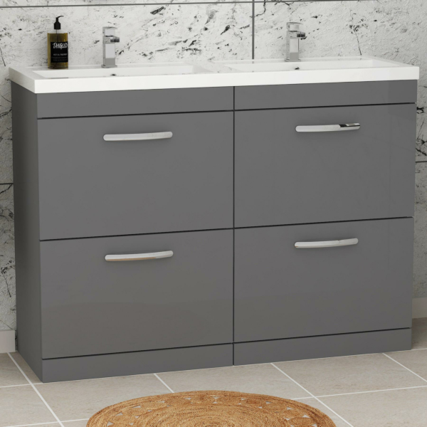 Turin 1200mm Indigo Grey Gloss Floor Standing 4-Drawer Vanity Unit Cabinet With Double Basin