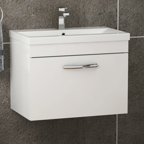 Turin 500 / 600 / 800mm Wall Hung Vanity Sink Unit 1 Drawer Gloss White - Optional Basin