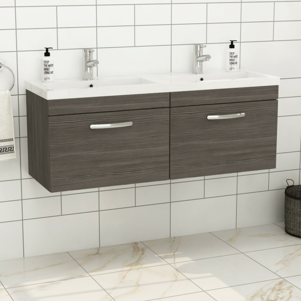Turin 1200mm Wall Hung Vanity Sink Unit 2 Drawer Grey Elm - Double Basin
