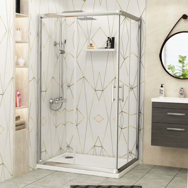 Plaza 900 x 800mm Rectangular Corner Entry Shower Enclosure with Pearlstone Tray - Sliding Door