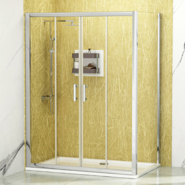 Noble 6mm Double Door Sliding Enclosure with Pearlstone Tray 1600 x 700mm