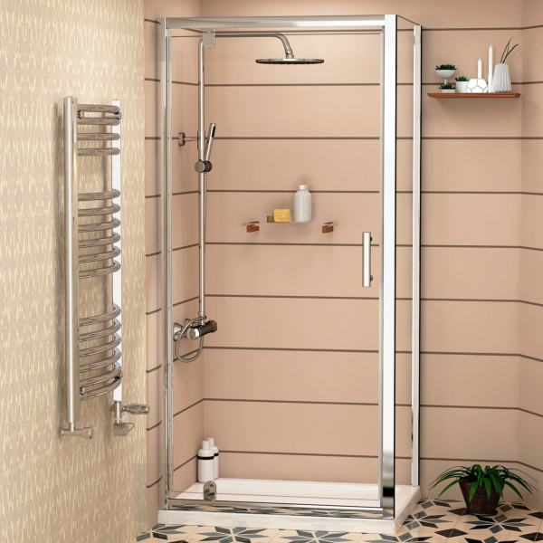 Cube 6mm Rectangular Pivot Door Shower Enclosure with Shower Tray 900 x 800mm