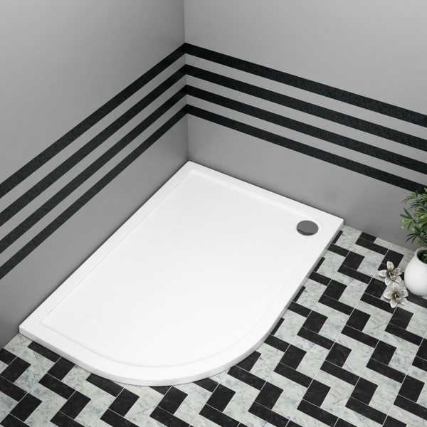 Left Handed Offset 900 x 800 x 40 Pearlstone Shower Tray with Riser Kit