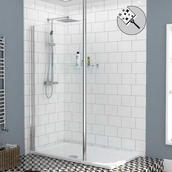 Marbella Wet Room Walk In Shower Screen Ceiling Post 8mm Easy Clean