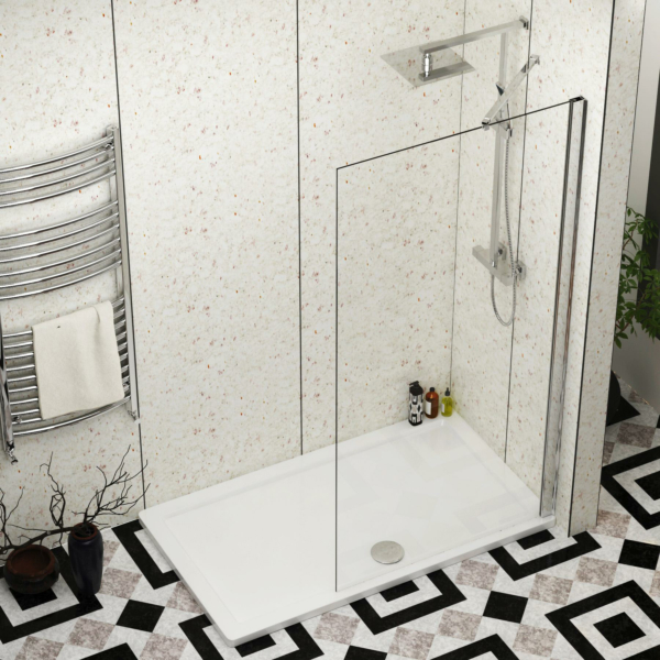 Marbella 1000mm Walk In Wet Room Shower Screen with Pearlston Tray 1400x900mm - Easy Clean