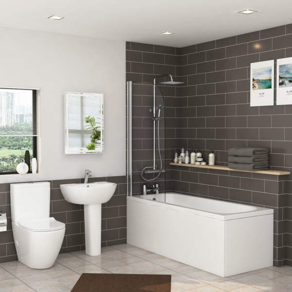 Breeze 1500 /1600 / 1700 / 1800mm Curved Single Ended Bath with Screen + Panel, Abacus Rimless Toilet with Slim Seat & Full Pedestal Basin