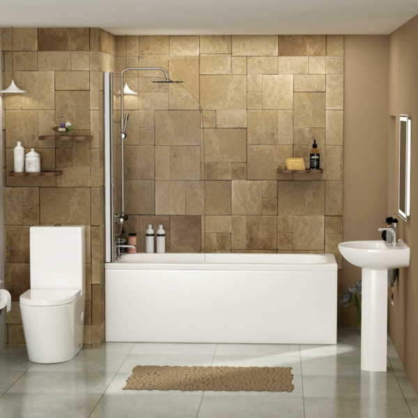 Breeze 1500 /1600 / 1700 / 1800mm Curved Single Ended Bath with Screen + Panel, Cesar Rimless Toilet & Full Pedestal Basin