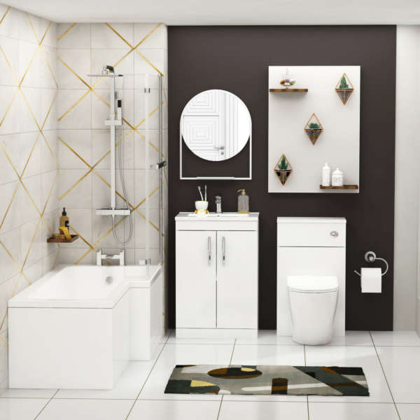 Qubix 1700 x 850mm Right Handed L Shaped Bath with Screen + Front Panel, Floor Standing Vanity Unit & WC BTW Toilet Unit