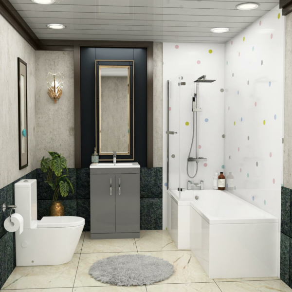 1700 X 850mm L Shaped Shower Bath with Front Panel, Screen, Rail & Flipper Panel + Rimless Close Coupled Toilet & Grey Gloss Vanity Unit