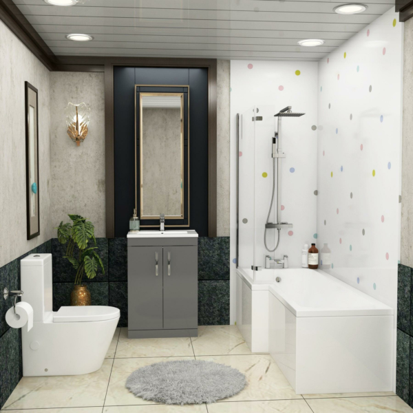 1700 X 850mm L Shaped Shower Bath with Front Panel, Screen & Flipper Panel + Rimless Close Coupled Toilet & Grey Gloss Vanity Unit