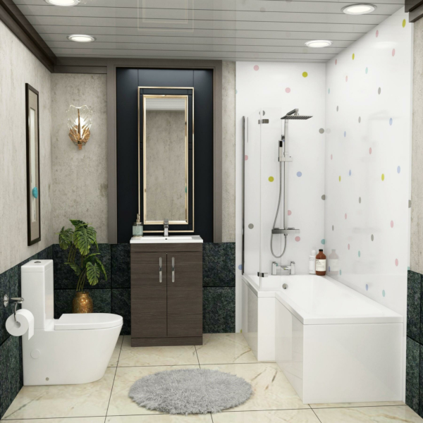 1700 X 850mm L Shaped Shower Bath with Front Panel, Screen & Flipper Panel + Rimless Close Coupled Toilet & Grey Elm Vanity Unit