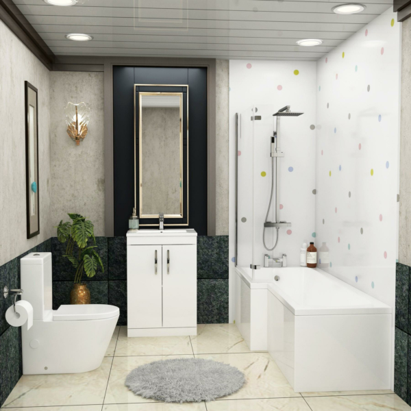 1700 X 850mm L Shaped Shower Bath with Front Panel, Screen & Flipper Panel + Rimless Close Coupled Toilet & Gloss White Vanity Unit
