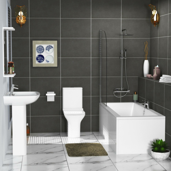 Amaze Square Double Ended Bath Suite with Screen + Panel, Cube Rimless Toilet with Slim Seat & Pedestal Basin