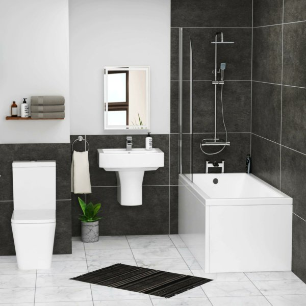 Cesar Square Single Ended Bath Suite with Screen + Panel, Elena Rimless Toilet with Seat & Semi Pedestal Basin