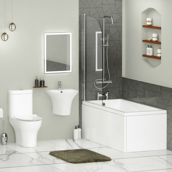 Cesar Square Single Ended Bath Suite with Screen + Panel, Breeze Rimless Toilet with Slim Seat & Wall Mounted Basin