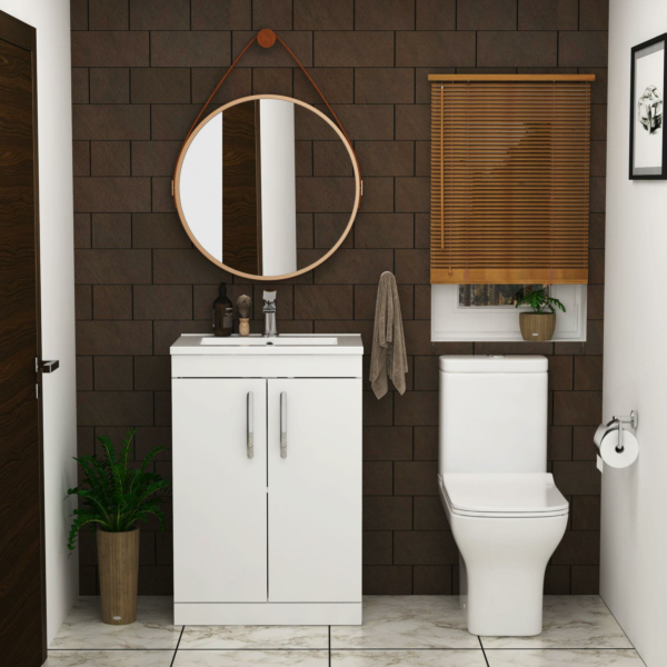 Cloakroom Suite Turin 600mm Gloss White 2-Door Floor Standing Vanity Unit with Qubix Rimless Closed Coupled Toilet