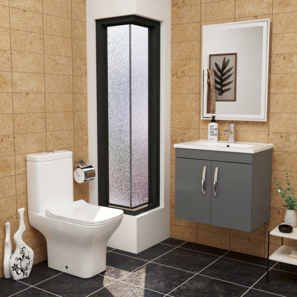 Cloakroom Suite Turin 600mm Indigo Grey Gloss 2-Door Wall Hung Vanity Unit with Qubix Rimless Closed Coupled Toilet