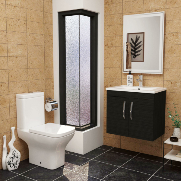 Cloakroom Suite Turin 600mm Hale Black 2-Door Wall Hung Vanity Unit with Qubix Rimless Closed Coupled Toilet