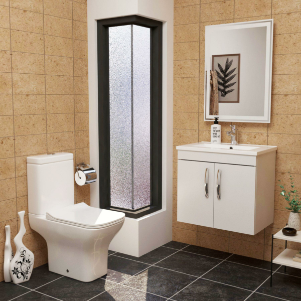 Cloakroom Suite Turin 600mm Gloss White 2-Door Wall Hung Vanity Unit with Qubix Rimless Closed Coupled Toilet