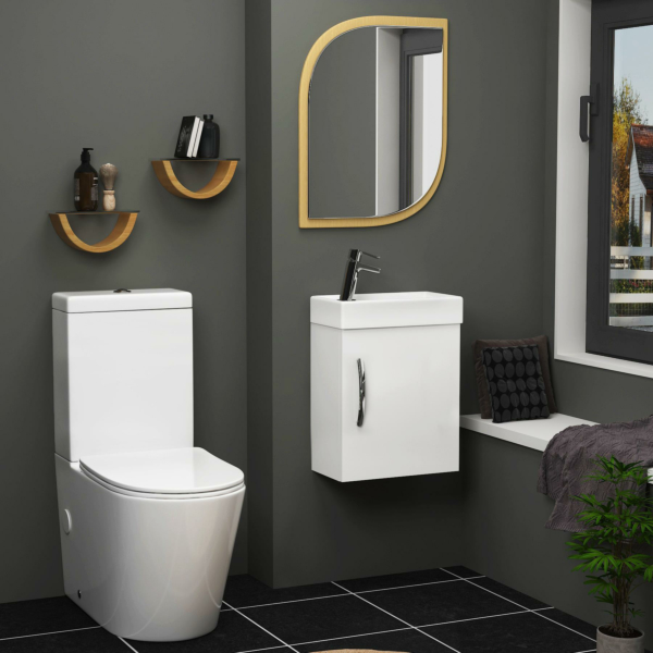 Cloakroom Suite 400mm Gloss White 1 Door Wall Hung Vanity Unit Basin With Cesar Rimless Toilet - Slim
