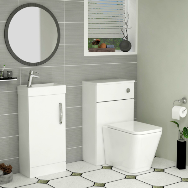 Cloakroom Suite Gloss White 400mm 1 Door Vanity Unit and BTW WC Unit with Elena Pan