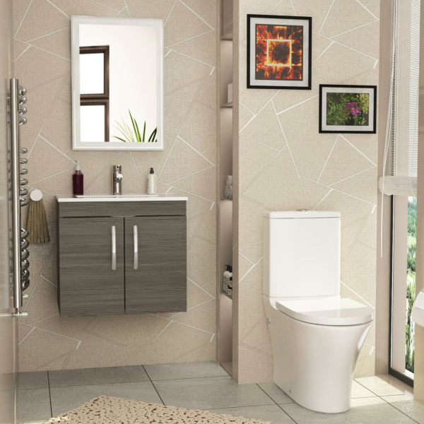 Cloakroom Suite 500mm Grey Elm 2 Door Wall Hung Vanity Unit Basin With Peak Rimless Close Coupled Toilet & Soft Close Seat