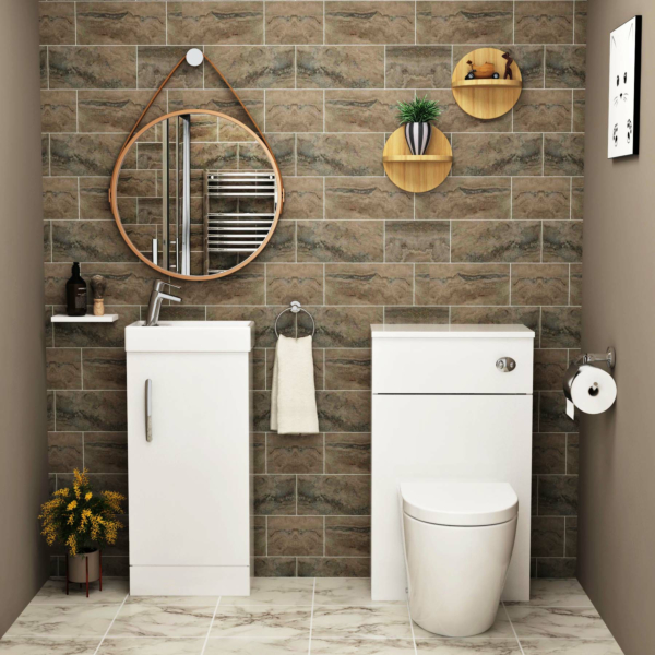 Cloakroom Suite Freestanding Vanity Unit Gloss White 400mm 1 Door with BTW WC Unit & Abacus Toilet Pack