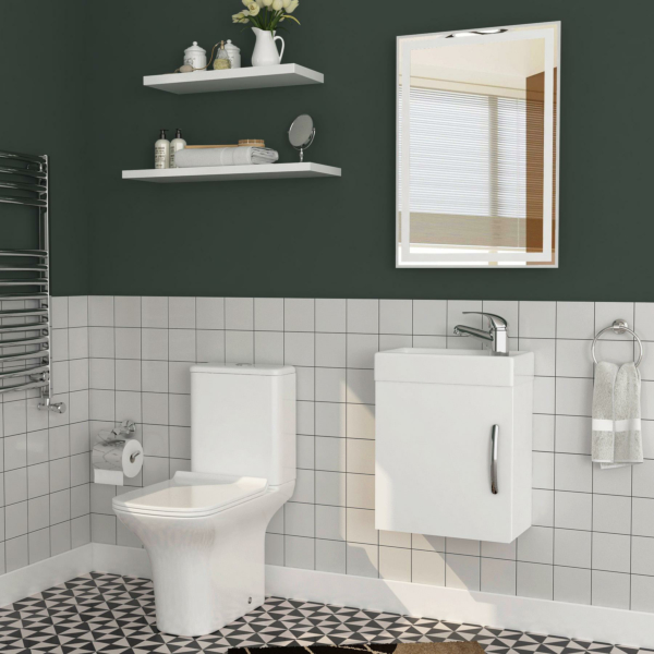 Cloakroom Suite 400mm Gloss White 1 Door Wall Hung Vanity Unit Basin & Cube Rimless Toilet - Slim