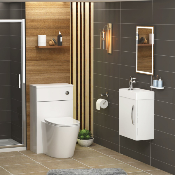 Cloakroom Suite Gloss White 400mm 1 Door Wall Hung Vanity Unit with BTW WC Unit & Cesar Toilet Pack - Slim