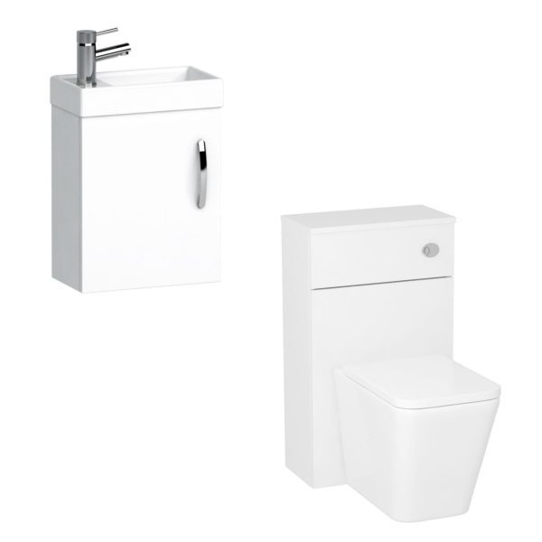 Cloakroom Suite Gloss White 400mm 1 Door Wall Hung Vanity Unit with BTW WC Unit & Elena Toilet Pack