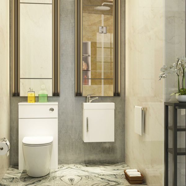 Cloakroom Suite Gloss White 400mm 1 Door Wall Hung Vanity Unit with BTW WC Unit & Abacus Toilet Pack - Slim