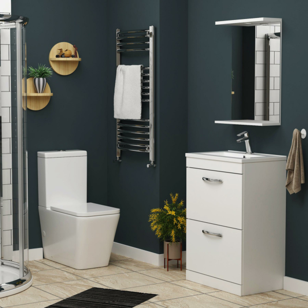 Turin 500mm Gloss White 2-Drawer Vanity Unit with Minimalist Basin & Close Coupled Toilet