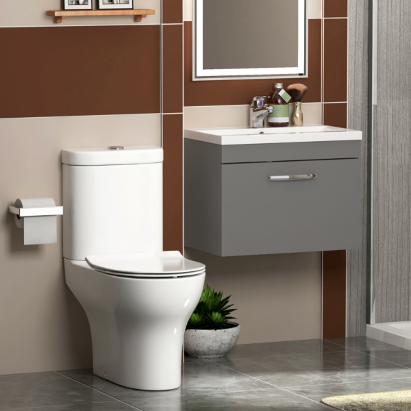 600mm Grey Gloss 1 Drawer Wall Hung Vanity Unit Basin & Rimless Close Coupled Toilet - Cloakroom Suite