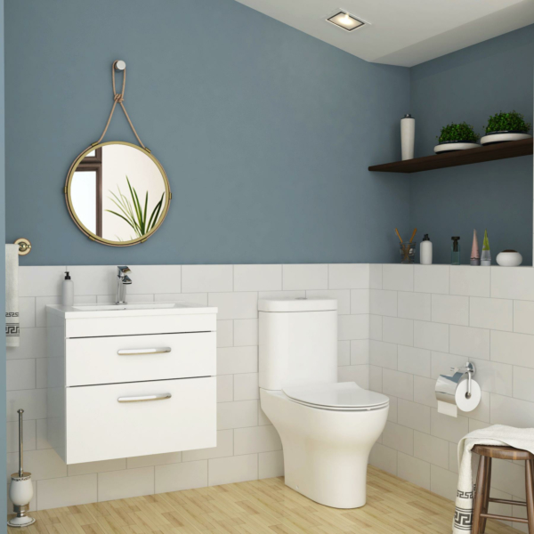 Turin 500mm Gloss White 2-Drawer Wall Hung Vanity Unit with Breeze Close Coupled Toilet