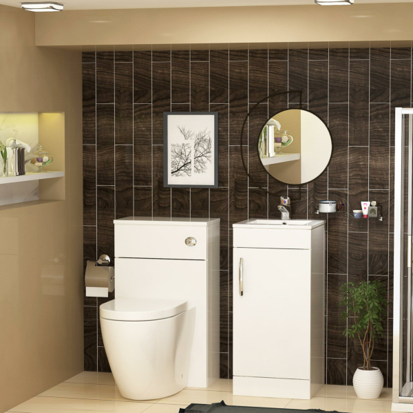 Cloakroom Suite Gloss White 400mm 1 Door Freestanding Vanity Unit with BTW WC Unit & Abacus Toilet Pack