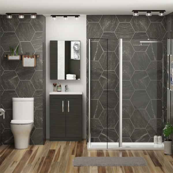 1200 x 760mm Walk In Shower Enclosure Suite With Flipper Panel & Breeze Rimless Toilet & Vanity Sink Unit