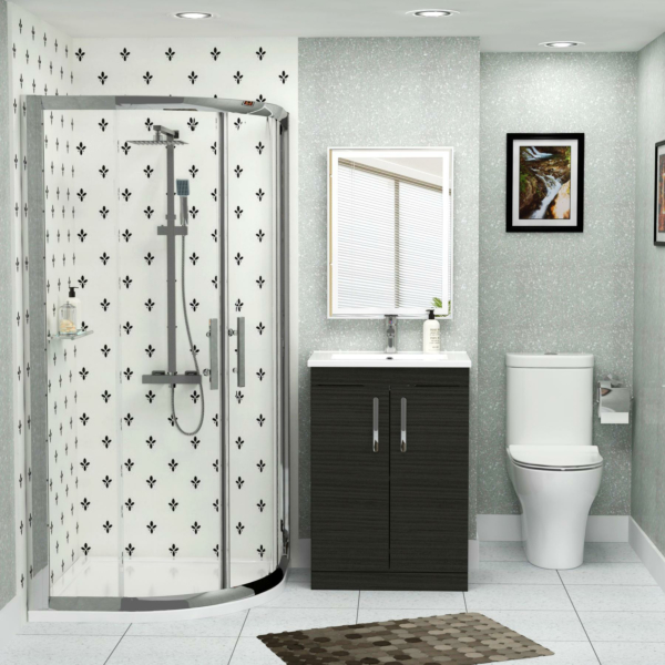900mm Quadrant Shower Enclosure Suite with Breeze Rimless Toilet & Hale Black Vanity Unit