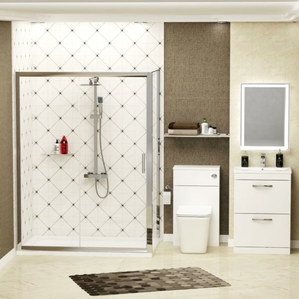 Single Sliding Shower Enclosure Suite with WC + BTW Pan & Basin Unit