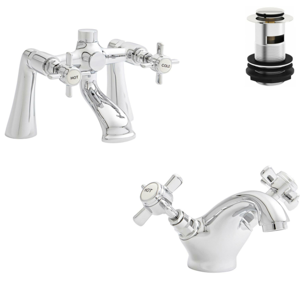 Kartell Klassique Chrome Bath Filler And Mono Basin Mixer Tap Bathroom Set with Free Waste Solid Brass - Chrome