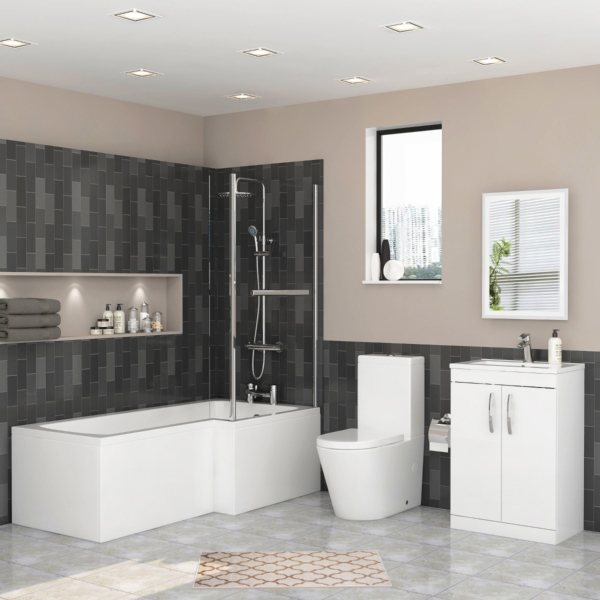 Qubix Right Hand L Shaped Shower Bath with Screen, Front Panel, Close Coupled Toilet & Vanity Unit