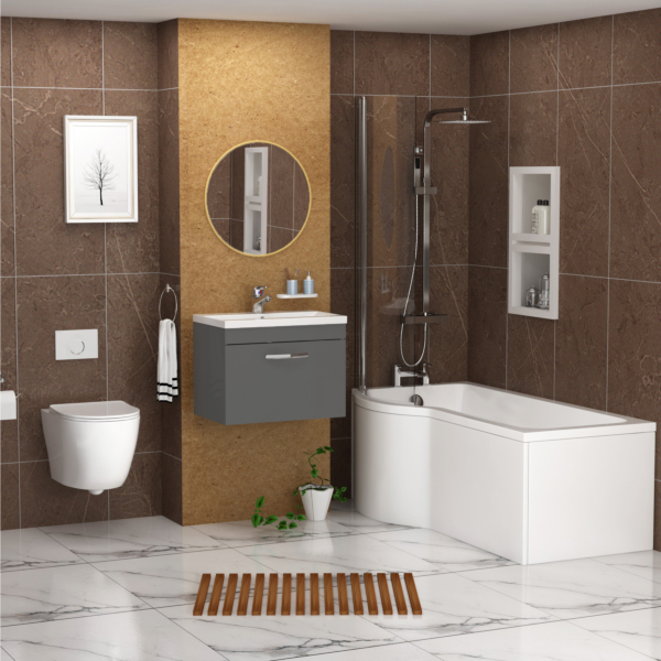 Abacus Left Handed P Shaped Bath with Screen + Front Panel, Wall Hung Vanity Unit & Wall Hung Toilet